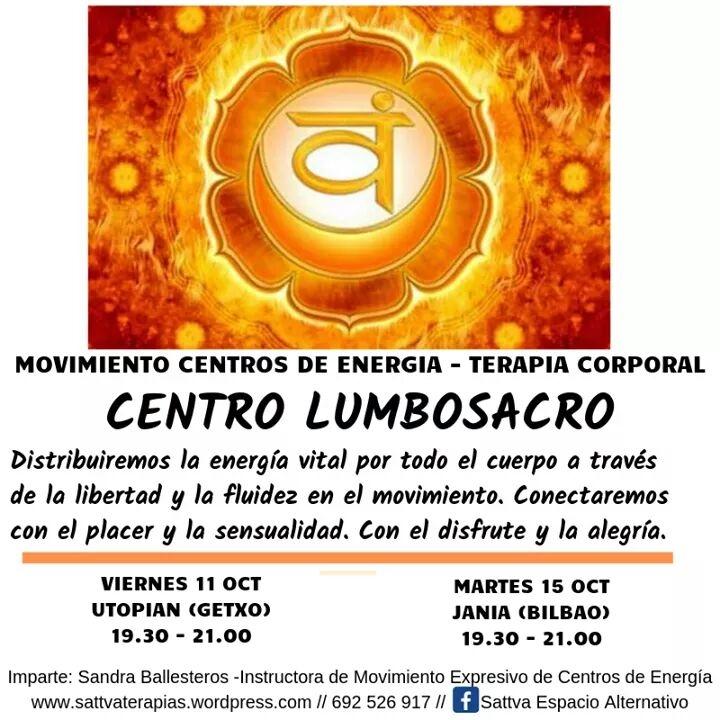 Movimiento de Centros de Energía: Centro LUMBO SACRO Martes 15 de Octubre