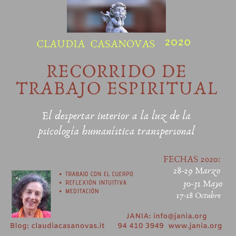 RECORRIDO de trabajo PSICOESPIRITUAL con Claudia Casanovas en 2020