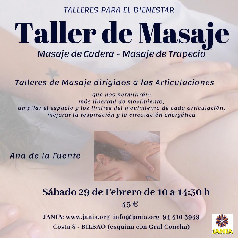 Talleres para el Bienestar: Taller de MASAJE Sábado 29 de Febrero
