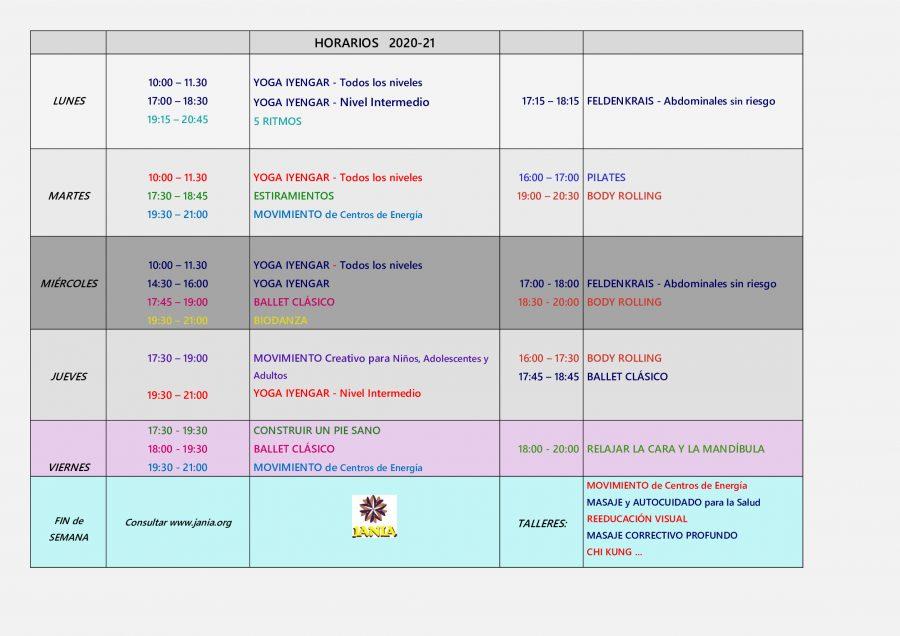 HORARIOS ACTIVIDADES – Curso 2020-21