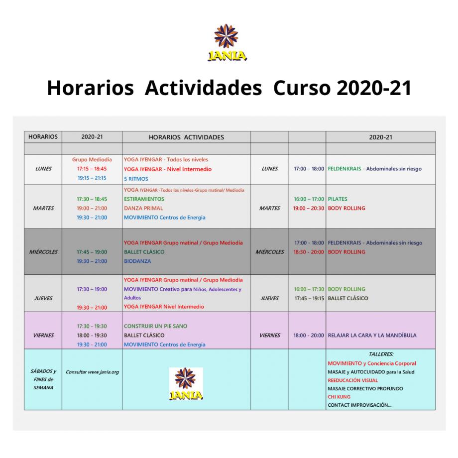 HORARIOS provisionales Curso 2020-21